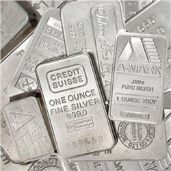 Lot of (10) Random Mixed Type 1 oz. Silver Bars