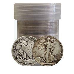 Roll of 20 Walking Liberty Half Dollars-90% Silver