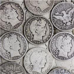 Lot of (25) Barber Half Dollars-90% Silver