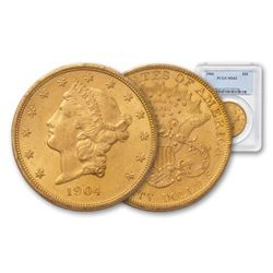 1904 MS 62 PCGS $20 Gold Liberty Double Eagle