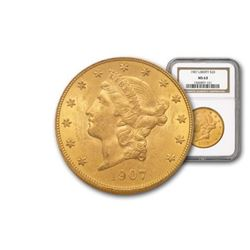 1907 MS 63 NGC Liberty $20 Double Eagle
