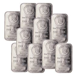 (10) Morgan Design Silver Bars .999 Pure