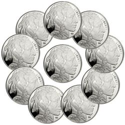 (10) Buffalo Design Silver Rounds 1 oz Each