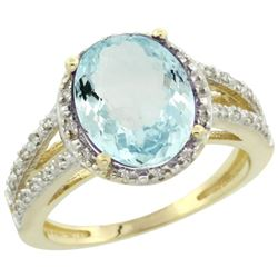 Natural 3.09 ctw Aquamarine & Diamond Engagement Ring 10K Yellow Gold - REF-49R2Z