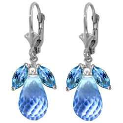 Genuine 14.4 ctw Blue Topaz Earrings Jewelry 14KT White Gold - REF-46N7R