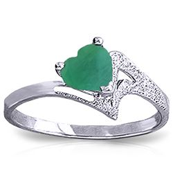 Genuine 1 ctw Emerald Ring Jewelry 14KT White Gold - REF-43R2P