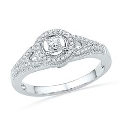 0.25 CTW Diamond Encircled Solitaire Milgrain Promise Bridal Ring 10KT White Gold - REF-26X9Y
