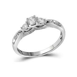 0.38 CTW Diamond 3-stone Bridal Engagement Ring 10KT White Gold - REF-40M4H