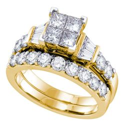 1 CTW Princess Diamond Invisible-set Bridal Engagement Ring 14k Yellow Gold - REF-134W9K
