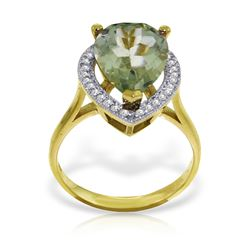Genuine 3.41 ctw Green Amethyst & Diamond Ring Jewelry 14KT Yellow Gold - REF-75K4V