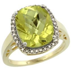 Natural 5.28 ctw Lemon-quartz & Diamond Engagement Ring 14K Yellow Gold - REF-51R3Z