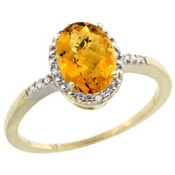 Natural 1.2 ctw Whisky-quartz & Diamond Engagement Ring 14K Yellow Gold - REF-22G8M