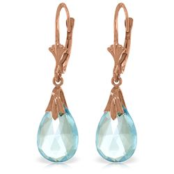 Genuine 6 ctw Blue Topaz Earrings Jewelry 14KT Rose Gold - REF-27P8H