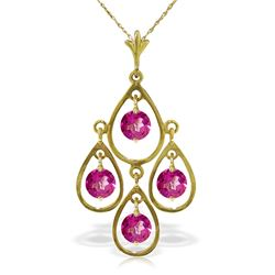 Genuine 1.20 ctw Pink Topaz Necklace Jewelry 14KT Yellow Gold - REF-31X2M