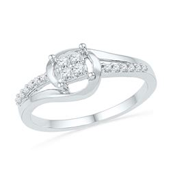 0.16 CTW Diamond Square Cluster Bridal Engagement Ring 10KT White Gold - REF-18K2W