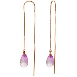 Genuine 4.5 ctw Pink Topaz Earrings Jewelry 14KT Rose Gold - REF-20Z4N