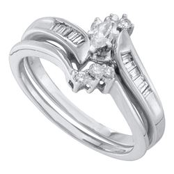 0.25 CTW Marquise Diamond Solitaire Bridal Engagement Ring 10KT White Gold - REF-41N9F