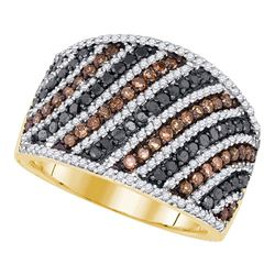 1.56 CTW Black Cognac-brown Color Diamond Ring 10KT Yellow Gold - REF-67N4F