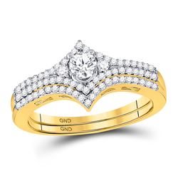 0.50 CTW Diamond Bridal Wedding Engagement Ring 14KT Yellow Gold - REF-71M9H