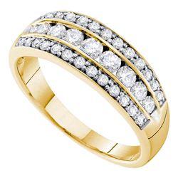 0.70 CTW Diamond Triple Row Ring 14KT Yellow Gold - REF-89W9K