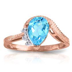 Genuine 1.52 ctw Blue Topaz & Diamond Ring Jewelry 14KT Rose Gold - REF-51Y4F