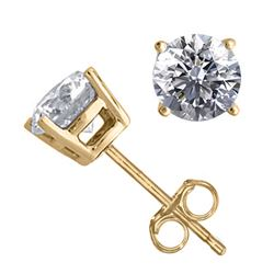 14K Yellow Gold 1.56 ctw Natural Diamond Stud Earrings - REF-394H9W-WJ13330