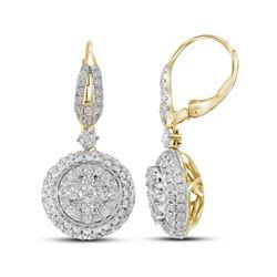 2.2 CTW Diamond Flower Cluster Dangle Leverback Earrings 14KT Yellow Gold - REF-244H4M
