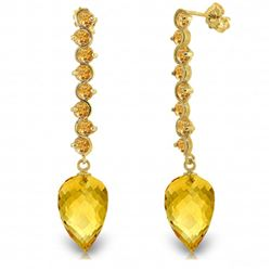 Genuine 22.1 ctw Citrine Earrings Jewelry 14KT Yellow Gold - REF-69R2P