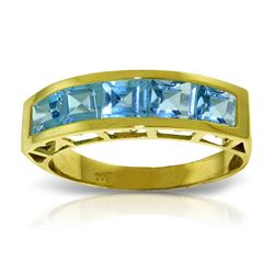 Genuine 2.25 ctw Blue Topaz Ring Jewelry 14KT Yellow Gold - REF-54V2W