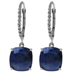 Genuine 9.66 ctw Sapphire Earrings Jewelry 14KT White Gold - REF-89V3W