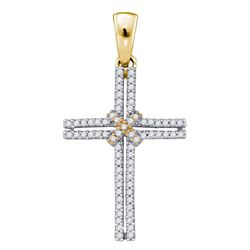 0.20 CTW Diamond Bound Cross Pendant 10KT Yellow Gold - REF-19N4F