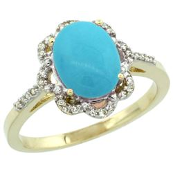 Natural 1.85 ctw Turquoise & Diamond Engagement Ring 14K Yellow Gold - REF-41G2M