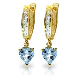 Genuine 4.1 ctw Aquamarine Earrings Jewelry 14KT Yellow Gold - REF-49K2V