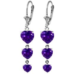 Genuine 6 ctw Amethyst Earrings Jewelry 14KT White Gold - REF-66X9M