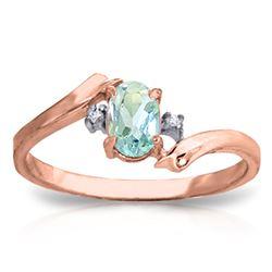 Genuine 0.46 ctw Aquamarine & Diamond Ring Jewelry 14KT Rose Gold - REF-29F3Z