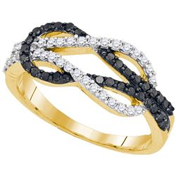 0.51 CTW Black Color Diamond Double Linked Knot Ring 10KT Yellow Gold - REF-30M2H