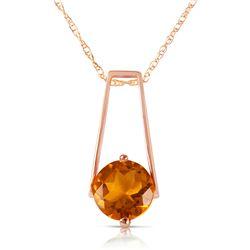 Genuine 1.45 ctw Citrine Necklace Jewelry 14KT Rose Gold - REF-23K8V
