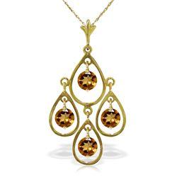 Genuine 1.20 ctw Citrine Necklace Jewelry 14KT Yellow Gold - REF-30X7M