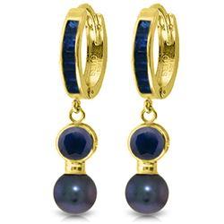 Genuine 4.65 ctw Sapphire & Black Pearl Earrings Jewelry 14KT Yellow Gold - REF-54A6K
