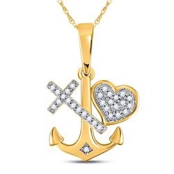 0.08 CTW Diamond Heart Cross Anchor Pendant 10KT Yellow Gold - REF-13M4H