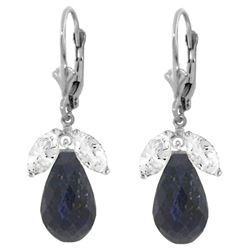 Genuine 18.6 ctw White Topaz & Sapphire Earrings Jewelry 14KT White Gold - REF-46W7Y