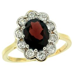 Natural 2.34 ctw Garnet & Diamond Engagement Ring 10K Yellow Gold - REF-70G6M