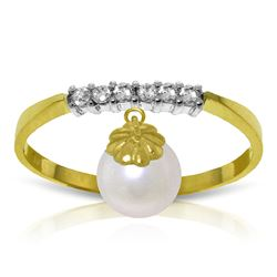 Genuine 2.1 ctw Pearl & Diamond Ring Jewelry 14KT Yellow Gold - REF-33N7R