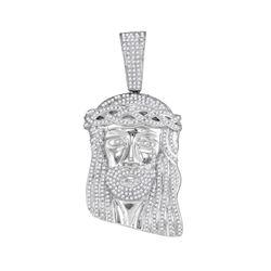 2 CTW Mens Diamond Jesus Head Pendant 10KT White Gold - REF-127H4M