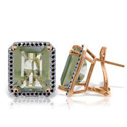 Genuine 11.60 ctw Green Amethyst & Black Diamond Earrings Jewelry 14KT Rose Gold - REF-127M9T