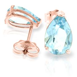 Genuine 3.15 ctw Aquamarine Earrings Jewelry 14KT Rose Gold - REF-30H2X