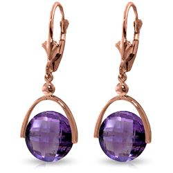 Genuine 6.5 ctw Amethyst Earrings Jewelry 14KT Rose Gold - REF-43Y4F