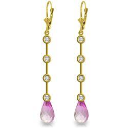 Genuine 6.12 ctw Pink Topaz & Diamond Earrings Jewelry 14KT Yellow Gold - REF-52V9W