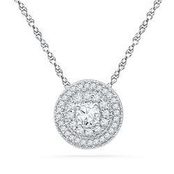 0.50 CTW Diamond Solitaire Pendant 10KT White Gold - REF-44X9Y