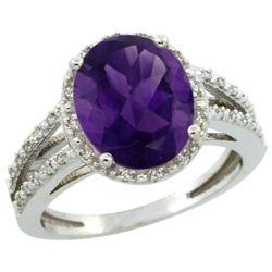 Natural 3.47 ctw Amethyst & Diamond Engagement Ring 14K White Gold - REF-46A3V